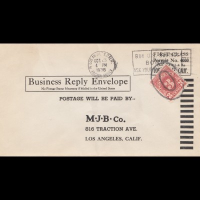 USA: 1936: Los Angeles, Business Reply Envelope