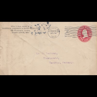 USA: 1909: St. Louis, Mo to Hannover/Germany, audited Shipments