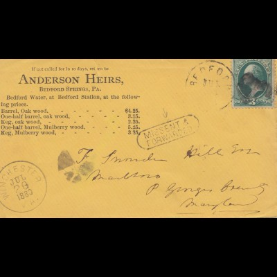 USA: 1880: post card Bedford Springs, Pa to Winchester, Missent, Forwarded