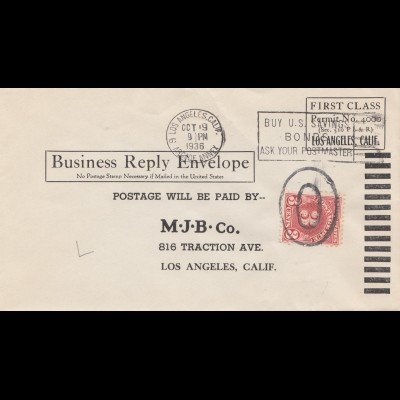 USA 1936: Los Angeles, Business Reply Envelope, First Class