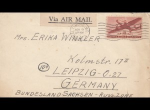 USA 1947: Baltimore MD to Leipzig/Germany, air mail