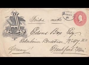 USA 1901: San Francisco, Anheuser-Busch, Brewing to Frankfurt, printed matter