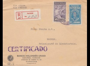 Venezuela 1938: registered Caracas to Eschen/Liechtenstein