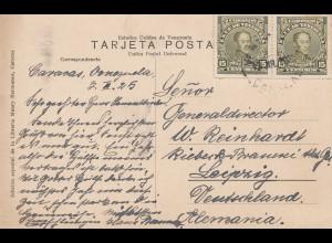 Venezuela 1925: post card #107c, Palmera to Leipzig, Brauerei
