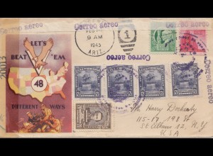 Venezuela 1945: air mail to USA: Let's beat 'em, different ways
