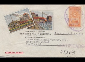Venezuela 1951: registered Maracaibo to New York