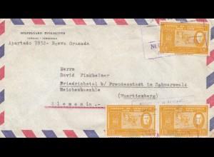Venezuela air mail Nueva Granada to Friedrichstal bei Freudenstadt/Germany
