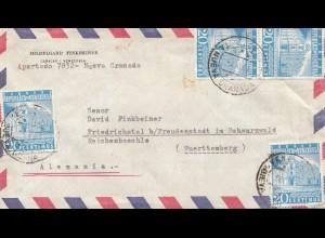 Venezuela 1950 air mail Nueva Granada to Friedrichstal bei Freudenstadt/Germany