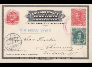 Venezuela 1907: post card via New York to Chemnitz