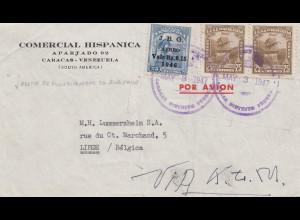 Venezuela 1947: Caracas to Liege/Belgium