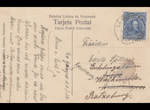 Venezuela 1928 post card Guaira a Caracas to Ratzenburg