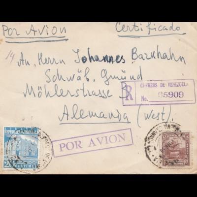 Venezuela air mail registered to Schwäbisch Gmünd