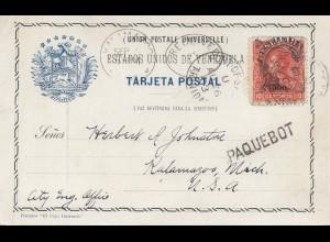 Venezuela 1903 post card La Guaira a Caracas - Paquebot - to Kalamazoo, Mich