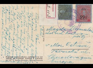 Venezuela registered post card to Cz