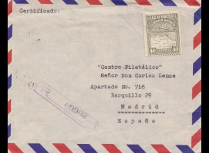 Venezuela 1952: air mail registered to Madrid/Spain