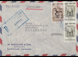 Venezuela 1952: air mail registered from Caracas to Pforzheim