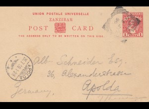 Zanzibar 1899: post card to Apolda/Germany