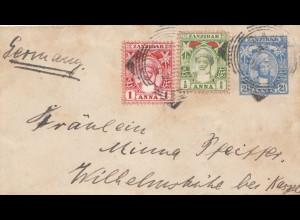 Zanzibar 1902: small letter to Wilhelmshöhe bei Kassel