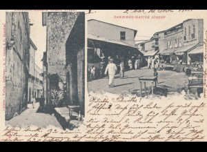 Zanzibar 1901: post card Native-street to Hamburg