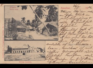 Zanzibar 1902: post card Native huts to Hamburg