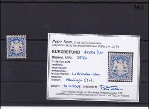 Bayern MiNr. 25Yc, gestempelt, seltene Farbe, BPP Befund Sem