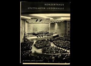 Buch: Konzerthaus Stuttgarter Liederhalle, 1956, ca. 100 Seiten