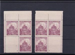 Böhmen & Mähren postfrisch, MiNr. 29 Viererblock Eckrand, Leerfeld