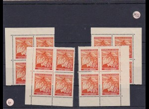 Böhmen & Mähren (B&M) **, postfrisch, MiNr. 38 alle Vierer Blöcke vom Eckrand