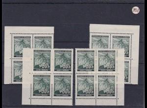Böhmen & Mähren (B&M) **, postfrisch, MiNr. 55 alle Vierer Blöcke vom Eckrand