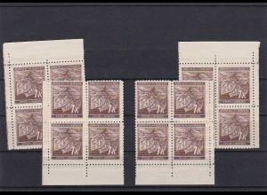 Böhmen & Mähren (B&M) **, postfrisch, MiNr. 67 alle Vierer Blöcke vom Eckrand