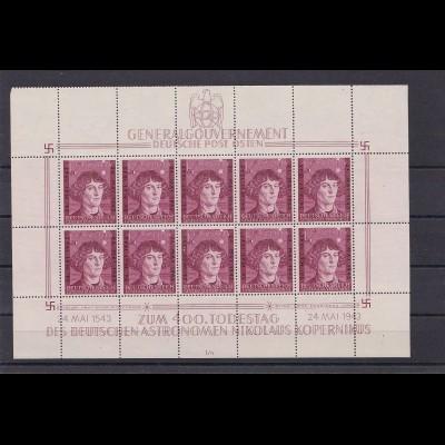 Generalgouvernement (GG) Kopernikus, **, Kleinbogen I/4,Leerfelder, 104 KLB