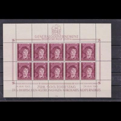 Generalgouvernement (GG) MiNr. 104 KLB, Kopernikus,**, Kleinbogen I/4,Leerfelder