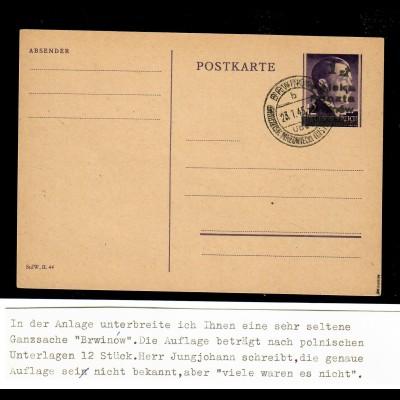 Polen: Ganzsache GG 23.01.1945; Brwinow, Lokalausgabe, BPP Prüfung, sehr selten
