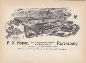 Ansichtskarte Fa. Honer, Werzeugmaschinenbau Ravensburg