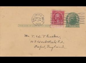 post card Baltimore 1932 to Oxford, England