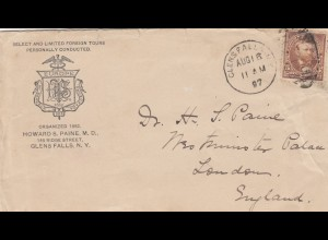 letter from USA Glens Falls, NY to London 1897
