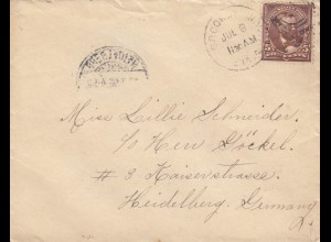 letter from USA Brooklyn to Heidelberg/Germany 1896