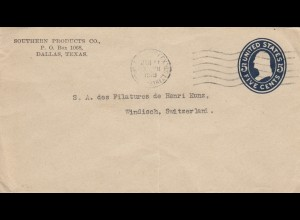 letter from USA Dallas, Texas to Windisch/Brugg Switzerland, 1919