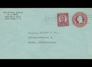 letter from USA, 1928 New York to Basel, Switzerland
