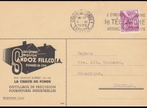 Postkarte Sandoz Chaux de Fonds to Tramelan 1939