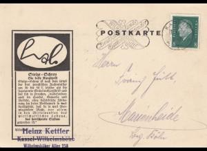 Postkarte Scherenhersteller Kassel-Wilhelmshöhe nach Marienheide 1930