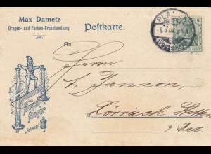 1909: Postkarte Drogen- und Farben-Grosshandlung Plauen nach Lörrach