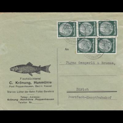 Brief 1935, Fischzüchterei Poppenhausen, Kassel/Fulda-Gersfeld nach Zürich