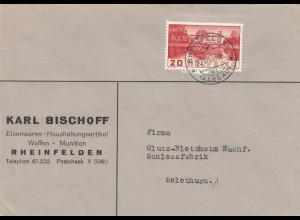 Brief 1938: Eisenwaren, Waffen, Munition, Sicherheit, Rheinfelden nach Solothurn