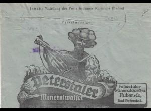1944: Karlsruhe Postscheckamt nach Lörrach, Werbung Mineralwasser, Peterstaler