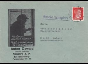 1941: Neuburg a. D., Eisenhandlulng, Einbrecher, Sicherheitsschloss nach Rain/L