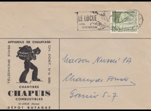 Brief 1958 Le Locle, Heizung, Kohle, ...