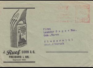 1942: Freistempel Freiburg, Kaffee, Nährmittel Ruef nach Niederwihl