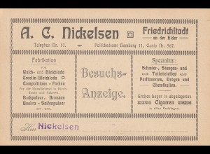 Postkarte Besuchsanzeige Friedrichstadt/Eider, Backpulver, Parfümerie, Zigarren