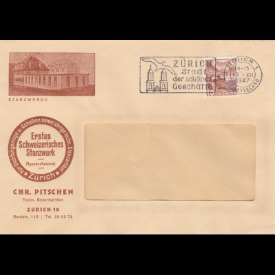 Brief 1947 Zürich, Stanzwerke, Dichtungen